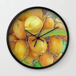 Golden Coconuts Wall Clock