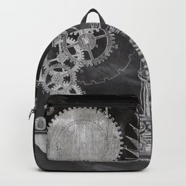 black and white vintage patent print chalkboard steampunk clock gear Backpack