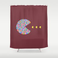 pacman Shower Curtains featuring pacman  by gazonula