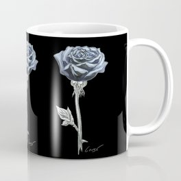 Rose 03b Botanical Flower * Blue Black Rose Coffee Mug