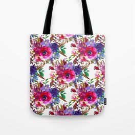 Bright Pink, Purple and Lavender Floral Arrangement with Feathers on Soft White Tote Bag