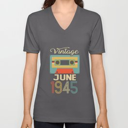 Vintage June 1945 75th Birthday 75 Year Gift Unisex V-Neck