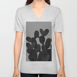 Gray Black Cactus #1 #succulent #decor #art #society6 Unisex V-Neck