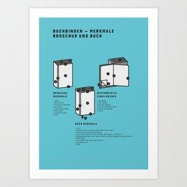 Buchbinden – Merkmale Broschur und Buch (in German) Art Print