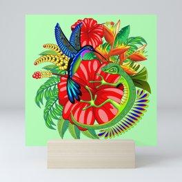 The Lizard, The Hummingbird and The Hibiscus Mini Art Print