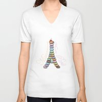 macaroon V-neck T-shirts featuring Macarons from Paris by Vannina