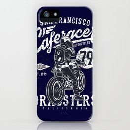 Caferacer Vintage Motorcycle Typography iPhone Case