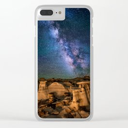 Milky Way Night Sky Over Mountains Clear iPhone Case