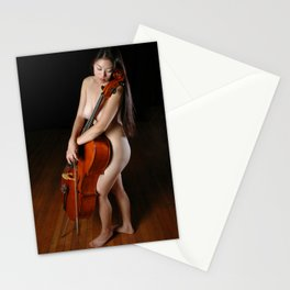 0199-JC Nude Cellist with Her Cello and Bow Naked Young Woman Musician Art Sexy Erotic Sweet Sensual Stationery Cards