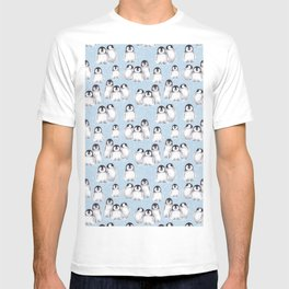 Penguin pattern on blue T-shirt