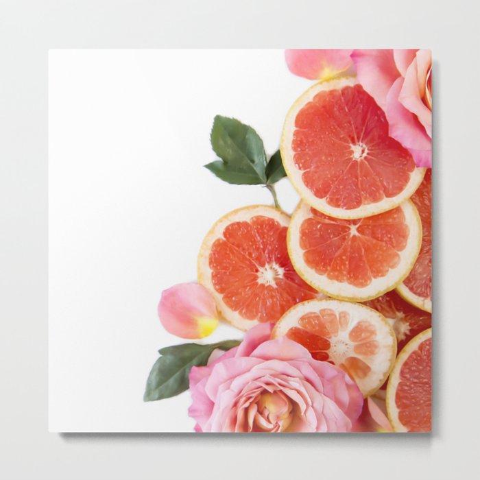 Grapefruit & Roses 04 Metal Print