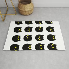 Whimsical Black Cats Naive Pattern Rug