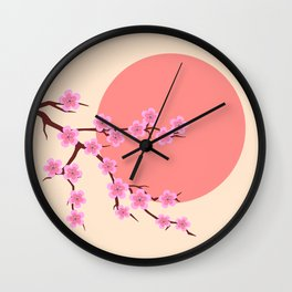 spring sakura and sun Wall Clock