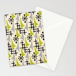 Mid Century Modern Atomic Wing Composition Green & Grey Stationery Cards