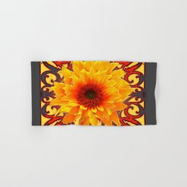 Charcoal Grey Red Sunflowers Pattern Art Hand & Bath Towel