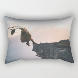 Up in the Clouds-Surreal Levitation Off a Cliff Rectangular Pillow