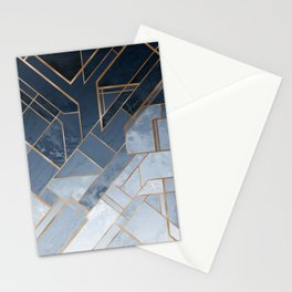 Blue and gold geometric pattern Stationery Cards