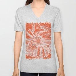 White Flower On Pumpkin Orange Crayon Unisex V-Neck