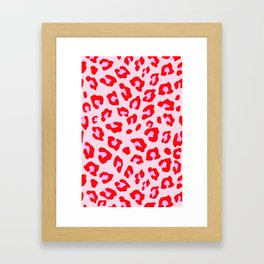 Leopard Print - Red And Pink Framed Art Print