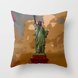 Lovely Lady Liberty (Painting) Throw Pillow