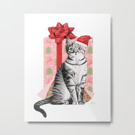Merry Christmas Kitten Metal Print