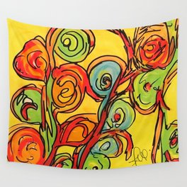 Round flowers, yellow fun Wall Tapestry