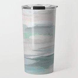 Sage Green Sky Blue Blush Pink Abstract Nature Sky Wall Art, Water Land Painting Print Travel Mug