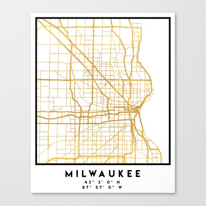 Milwaukee Wisconsin City Street Map Art Canvas Print By Deificusart