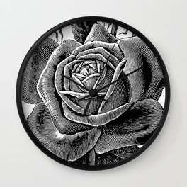 Engraved Rose Wall Clock