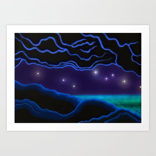 cave, sea and stars Art Print