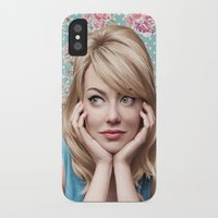 emma stone iPhone & iPod Cases featuring EMMA STONE by FISHNONES