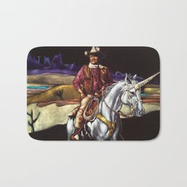 Black Velvet John Wayne Riding a Unicorn Bath Mat