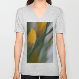 yellow crocus in spring Unisex V-Neck