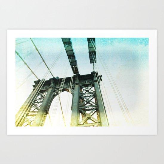 manhattan bridge in the light Art Print