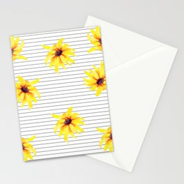 Yellow Daises on Minimal Black and White Stripes Stationery Cards