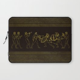 Ancient Sparta  Greece scene on greek pattern Laptop Sleeve