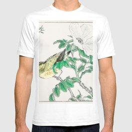brown eared bulbul and rosa rugosa illustration 43332295912 T-shirt