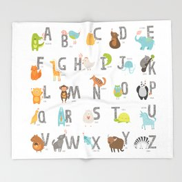 Animal Alphabet Throw Blanket