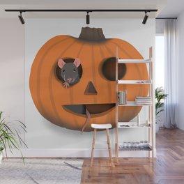 Halloween Rat in a Pumpkin Wall Mural