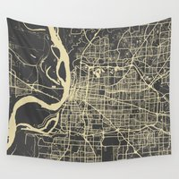 memphis Wall Tapestries featuring Memphis map by Map Map Maps