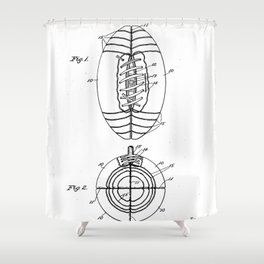American Football Patent - Football Art - Black And White Shower Curtain