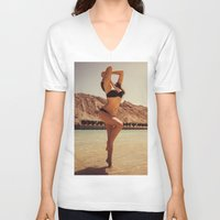 oasis V-neck T-shirts featuring Desert Oasis by MKGRAPHY