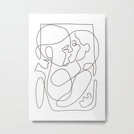 Lovers - Minimal Line Drawing 6 Metal Print