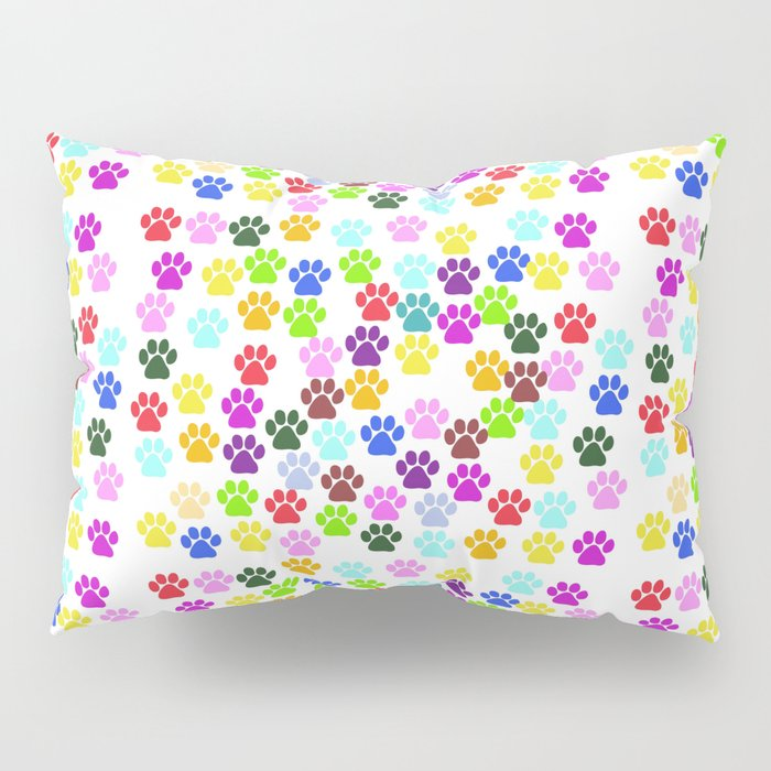 Dog Paws, Trails, Paw-prints - Red Blue Green Pillow Sham