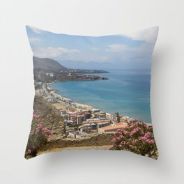 Cefalu view from La Roca Throw Pillow