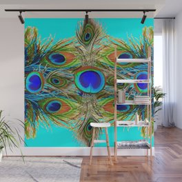 TURQUOISE  BLUE-GREEN PEACOCK EYE  FEATHERS Wall Mural