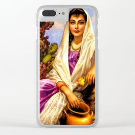 Jesus Helguera Painting of a Calendar Girl with Cream Shawl Clear iPhone Case