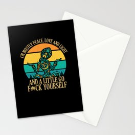 I'm Mostly Peace, Love And Light Hippie Stationery Cards