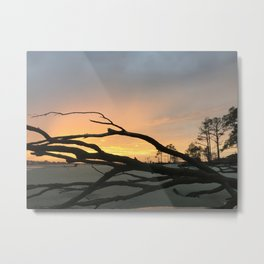 sunset closing on beach Metal Print