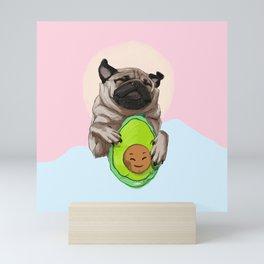 Pug and Avocado Mini Art Print